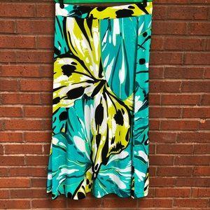 Kasper Butterfly Print Maxi Skirt XL